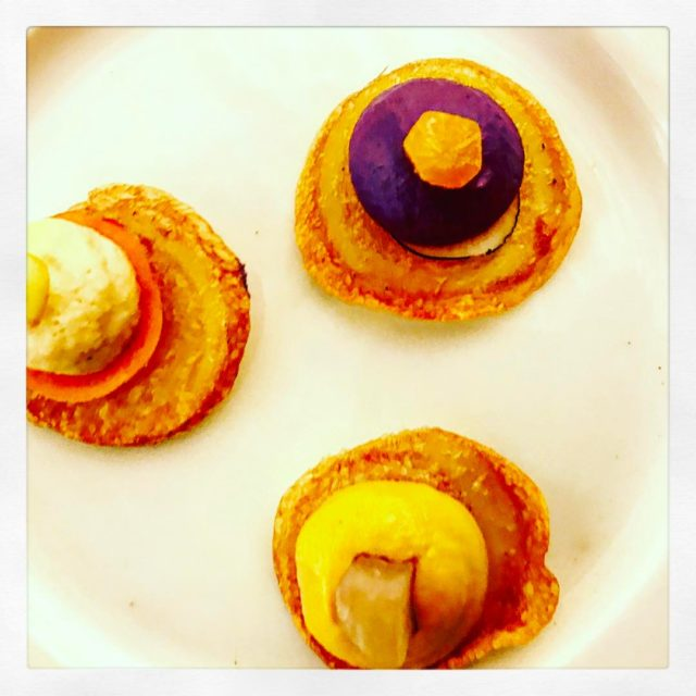 tartlets of beetroot shallot and bay leavescarrot and Jerusalem artichokehellip