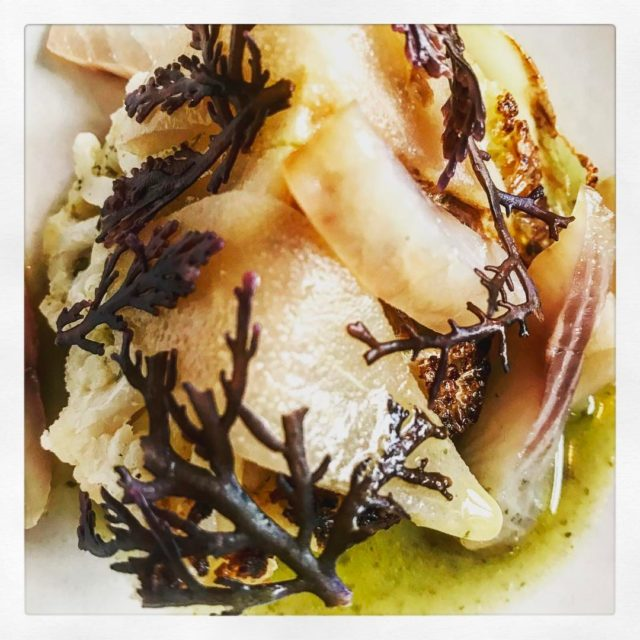 roasted cauliflower butterandseaweedsauce seaweed saltedpear smokedfish fera at septimeparis theworlds50besthellip