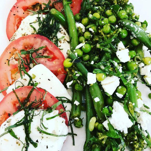 Caprese salad bean pea feta salad giulioscafe capetown whaletalesblog lovemylife