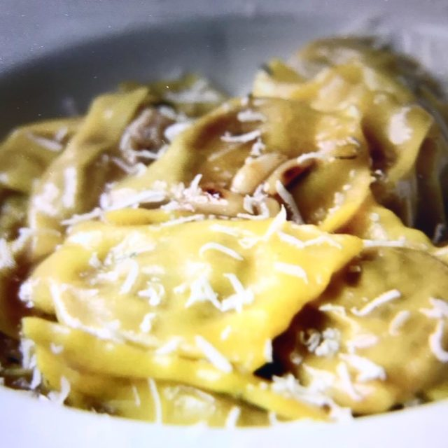 Rabbit ravioli Parmesan at Delos restaurant Apricale italy liguria JANhellip