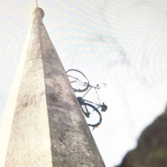 bicycle on Church steeple Apricale apricuslocanda liguria italy artist gravityhellip