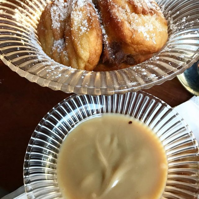 battered GrannySmith apple fritters and caramelsauce at bootleggercoffeecompany cafeandgrill constantiahellip